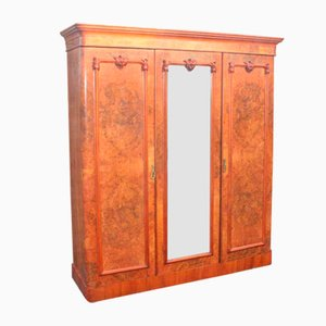 Large Vintage Mahogany 3-Door Mirrored Compactum Wardrobe