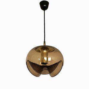 Lámpara colgante de cristal ahumado de Koch & Lowy para Peill & Putzler, años 70