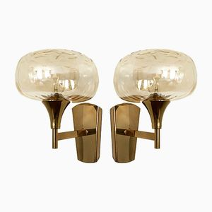 Applique in ottone e vetro color ambra, Italia, set di 2