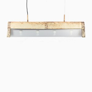 Vintage Aluminum & Glass Ceiling Lamp