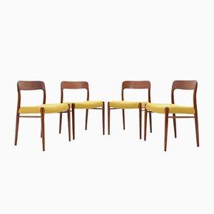 Modell 75 Stühle aus Teak von Niels O. Møller für J.L. Møllers, 1960er, 4er Set