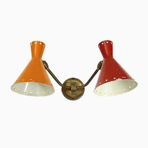 Lámpara de pared italiana Mid-Century de dos cabezas, años 50