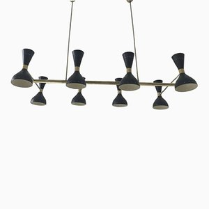 Chandelier in Gilt Brass & Lacquered Metal, 1950s
