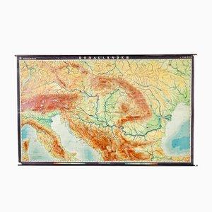 Mapa alemán vintage del río Danubio de Dr. Haack, años 70