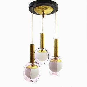 Lampe à Suspension en Laiton et Verre Opalin avec 3 Abat-jours de Stilux, Italie, 1960s