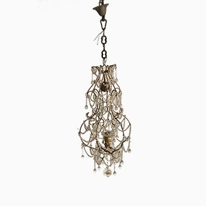 Vintage Macaroni Beaded Bird Cage Chandelier
