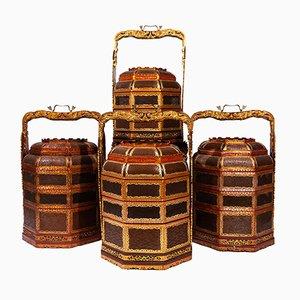 Cestos de latón lacados de madera y latón bañado en oro, años 70. Juego de 4