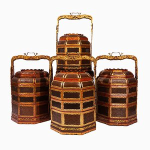 Lacquered Wood & Gilded Brass Baskets, 1970s, Set of 4
