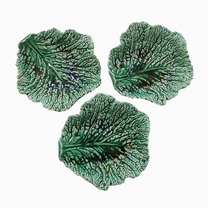 Cabbage Leaf Plates in Baroque Clay from Sarreguemines, 1930s, Set of 3