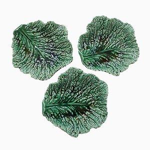 Platos en forma de hojas de col de arcilla barroca de Sarreguemines, años 30