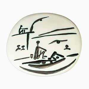 Beach Scene Wall Plate by Pablo Picasso for Madoura, 1956