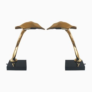 Lámparas de mesa esculturales de bronce de Michel Jaubert, años 80. Juego de 2