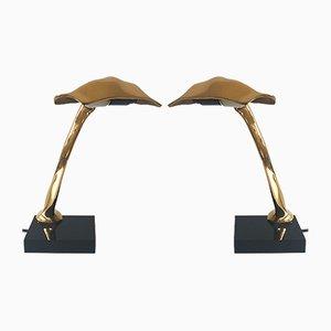 Lampes de Bureau Sculpturales en Bronze par Michel Jaubert, 1980s, Set de 2