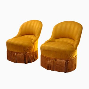Gelbe italienische Beistellstühle, 1950er, 2er Set