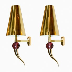 Vintage Brass Shade Sconces, Set of 2