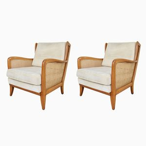 German Cherry Wood Armchairs, 1970s, Set of 2