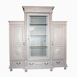 Grande Vitrine Grise Antique en 3 Parties