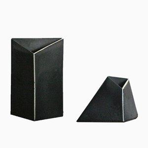 Jarrones minimalistas vintage de cerámica de Tom Bruinsma para Mobach. Juego de 2