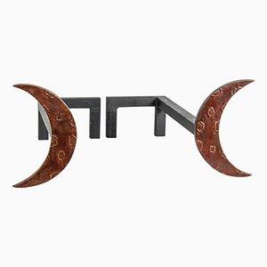 Alari vintage in bronzo di Enzo Missoni, set di 2