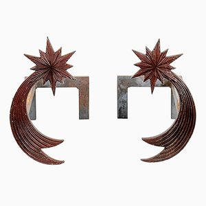 Bronze Andirons by Enzo Missoni, 1970s, Set of 2