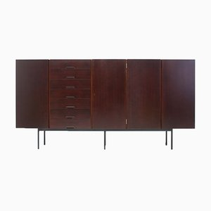 Mahogany High Sideboard with Metal Legs, 1960s