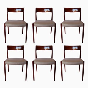 Dining Chairs in Teak & Light Grey Leather, 1960s, Set of 6