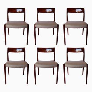Esszimmerstühle aus Teak & hellgrauem Leder, 1960er, 6er Set