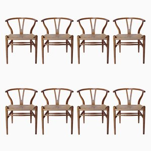 CH24 Y-Chairs in Beech by Hans J. Wegner for Carl Hansen & Søn, 1980s, Set of 8