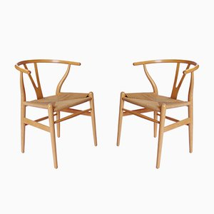 CH24 Y-Chairs in Beech by Hans J. Wegner for Carl Hansen & Søn, 1980s, Set of 2