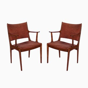 Armchairs in Teak & Pale Pink Suede by Johannes Andersen for Uldum Møbelfabrik, 1960s, Set of 2