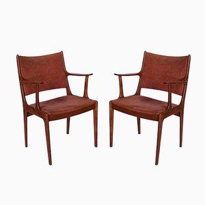 Armlehnstühle aus Teak & hellrosa Wildleder von Johannes Andersen für Uldum Møbelfabrik, 1960er, 2er Set