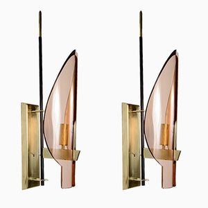Pink Glass Sconces, 1960s, Set of 2