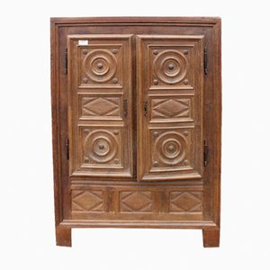Louis XVIII Carved Solid Oak 2-Door Wardrobe with Shelving, 1880s