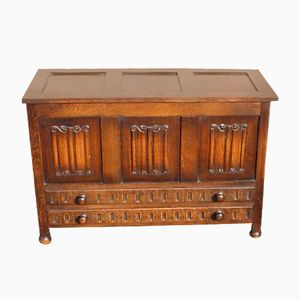 Large Carved Oak Coffer with Drawers & Lift Up Lid from Ercol, 1960s