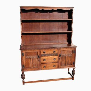 Large Carved Oak Dresser with Display Rack from Ercol, 1960s