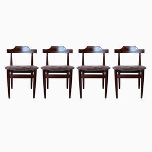 Esszimmerstühle aus Palisander & grauem Stoff von Hans Olsen, 1960er, 4er Set