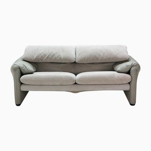 Vintage Maralunga 2-Seater Sofa in Leather & Alcantara by Vico Magistretti for Cassina