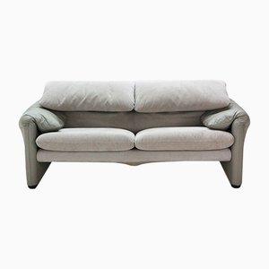 Vintage Maralunga 2-Sitzer Sofa aus Leder & Alcantara von Vico Magistretti für Cassina