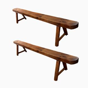 19th-Century Fruitwood Benches, Set of 2