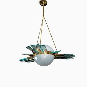 Brass & Glass Pendant Lamp, 1970s