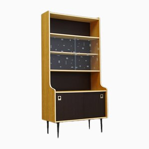 Mid-Century Danish Bookcase with Glass Sliding Doors