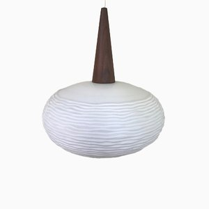 Opaline Glass & Teak Pendant by Louis Kalff for Philips, 1960s