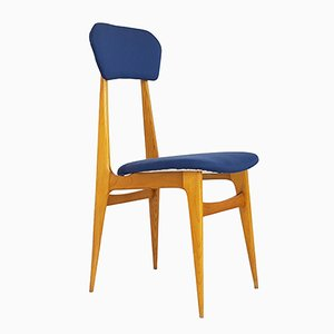 Italienischer Mid-Century Sessel aus Holz & Stoff