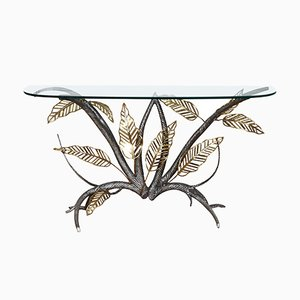 Brass & Iron Console Table by Chervet, 1980s