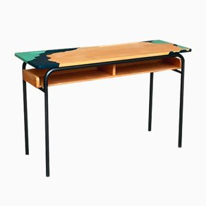 Vintage Blue & Green Oak Children's School Desk
