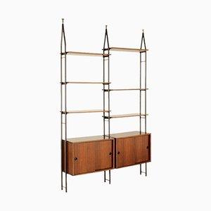 Vintage Italian Rosewood Veneer & Metal Bookcase