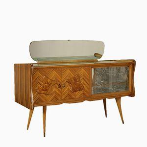 Italian Zebrawood & Retro Treated Glass Buffet with Mirror, 1950s