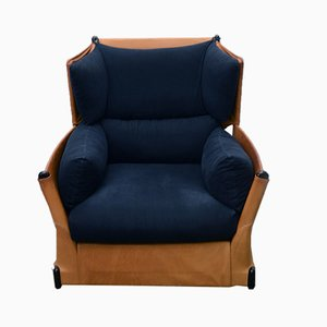 Italian Leather & Fabric Vela Armchair by Vico Magistretti for Cassina, 1980s