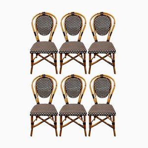 Chaises de Bistrot en Bambou, France, 1970s, Set de 6