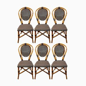 French Bamboo Bistro Chairs, 1970s, Set of 6